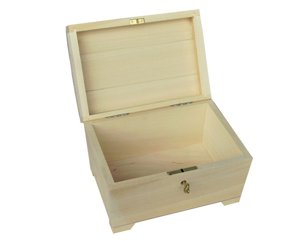PLAIN WOOD / WOODEN BOX HINGED LOCKABLE JEWELLERY PSK20 | eBay