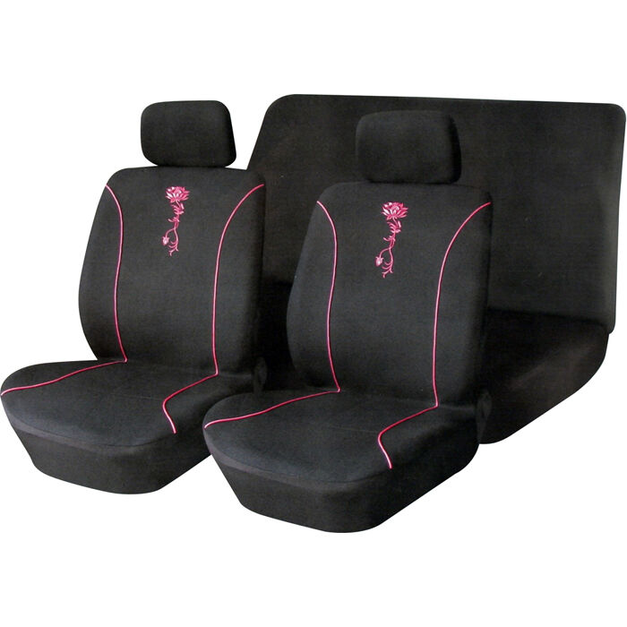 6pc car seat cover set black pink flower car universal ebay. Black Bedroom Furniture Sets. Home Design Ideas