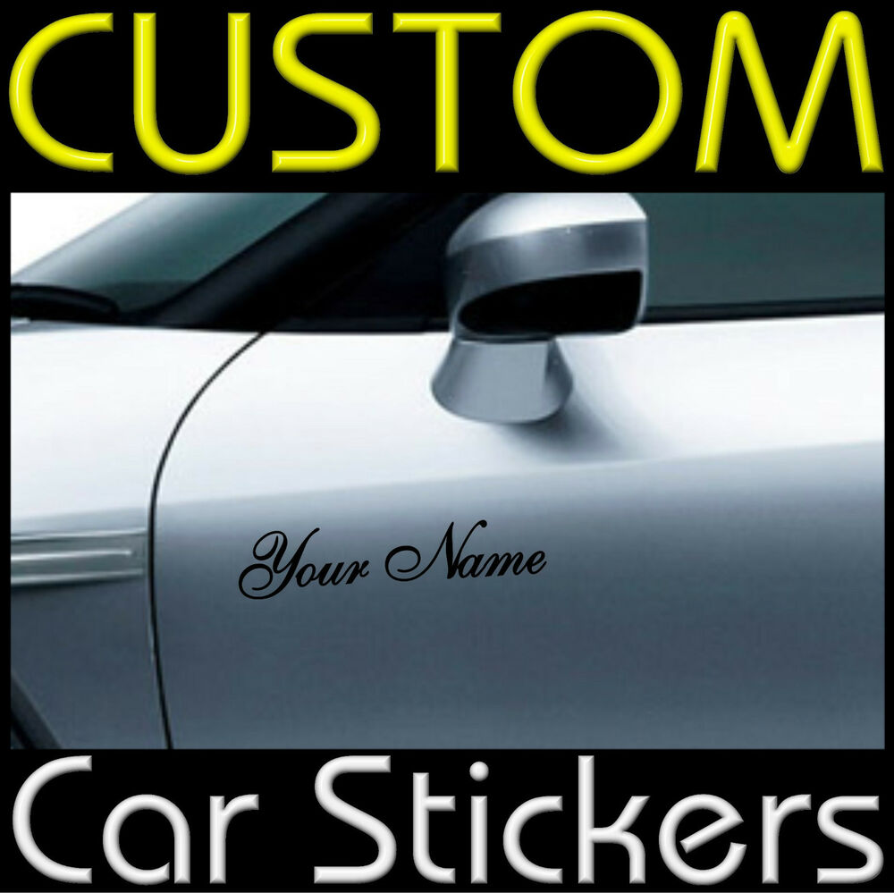 2 x custom personalised vinyl car or van stickers decal ebay. Black Bedroom Furniture Sets. Home Design Ideas