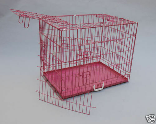 "42"" 3 Door Pink Folding Dog Crate Cage Kennel w/DIVIDER 