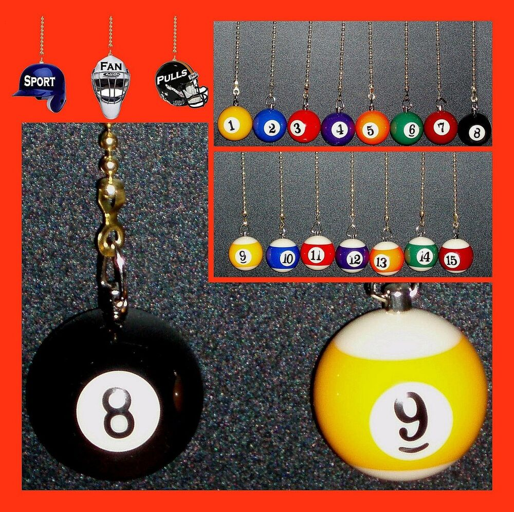 Pool Billiards Balls Ceiling Fan And Light Pulls Choice