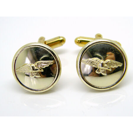 img-THE ROYAL AIR FORCE WINGS RAF BUTTON BADGE DESIGN CUFFLINKS GIFT IN POUCH