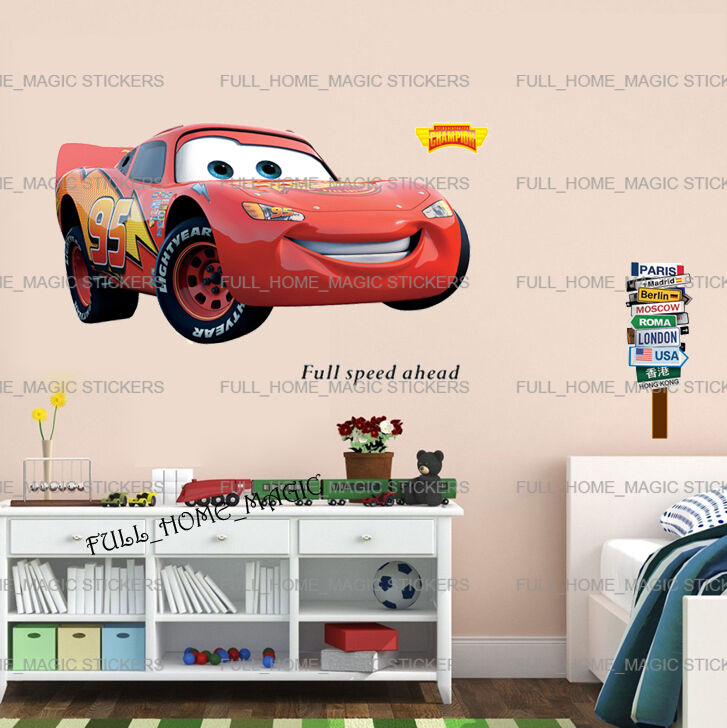 Xlarge disney cars lightning mcqueen wall stickers kids for Disney cars large wall mural