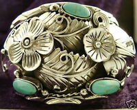 NAVAJO DESIGN TAXCO MEXICAN 950 SILVER TURQUOISE FLORAL FLOWER BRACELET MEXICO