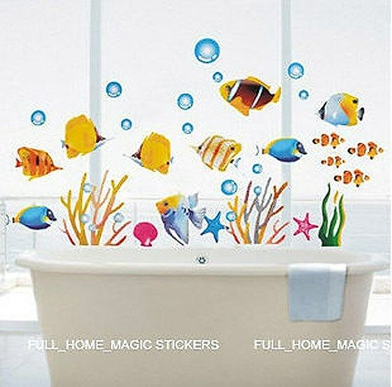 Http Www Ebay Co Uk Itm Fish Bathroom Decor Childrens Room Wall Stickers Large 280672809218