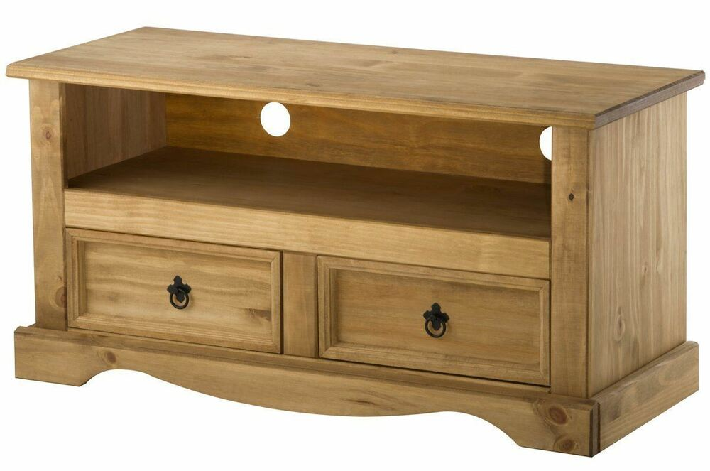 Corona 2 Drawer Tv Cabinet Stand Unit Mexican Pine Solid