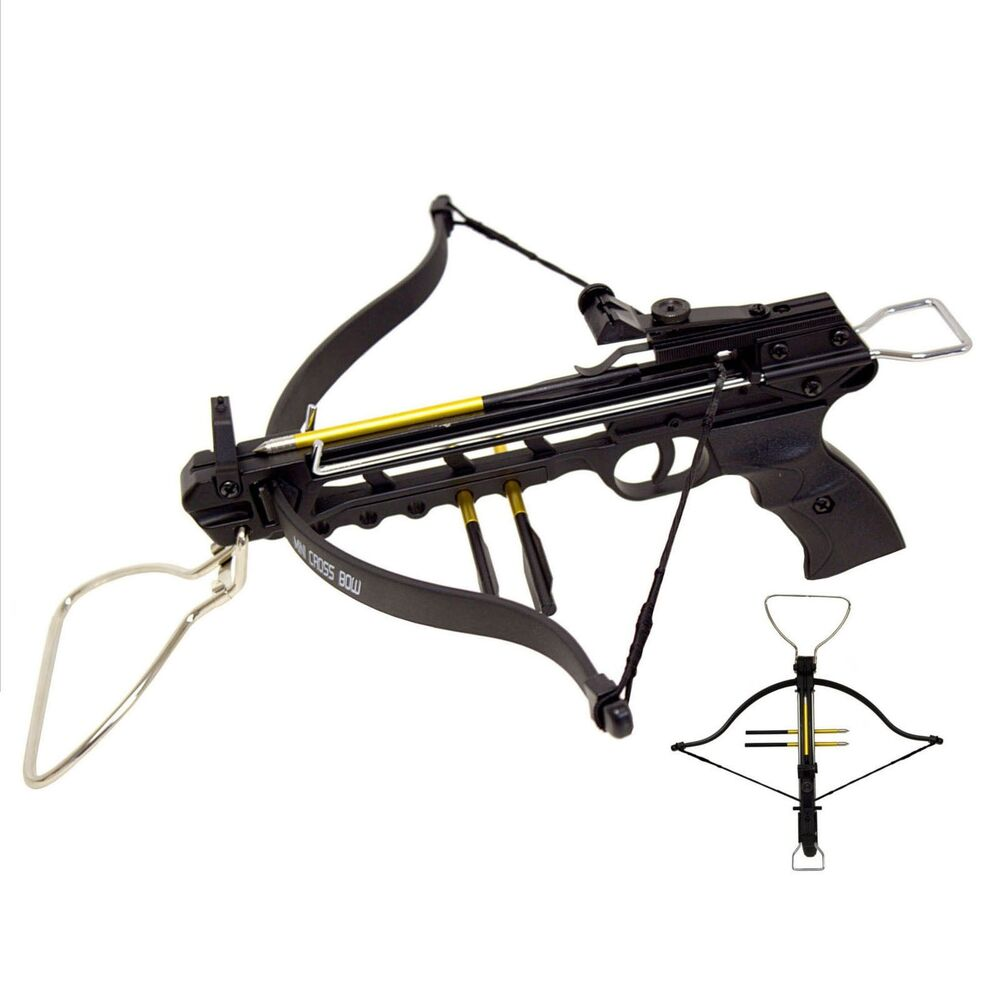 80 lbs aluminum body pistol crossbow handgun 3 arrows with for Fishing crossbow pistol