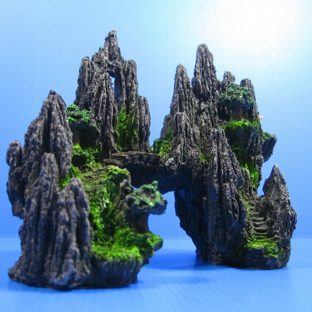 Mountain view aquarium ornament tree house cave bridge for Aquarium decoration online