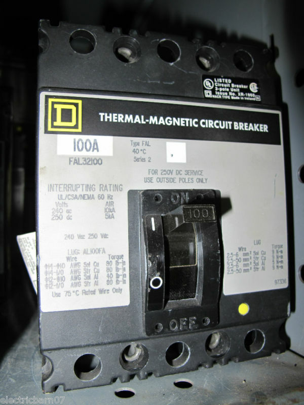 square d fal32100 circuit breaker grey label ebay. Black Bedroom Furniture Sets. Home Design Ideas