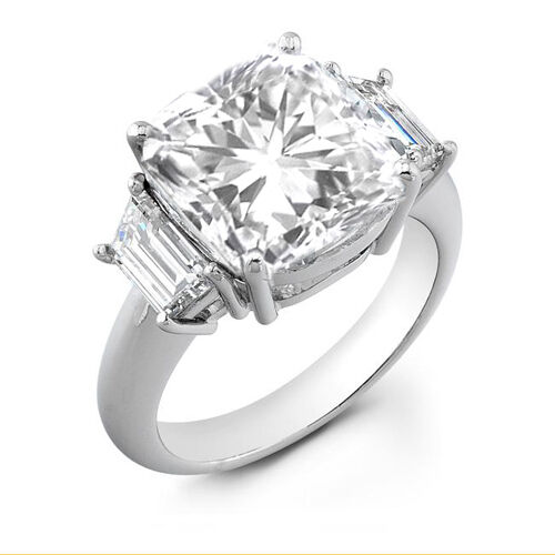 2 22 Ct 3 Stone Radiant Cut Diamond Ring Platinum 950 Ebay