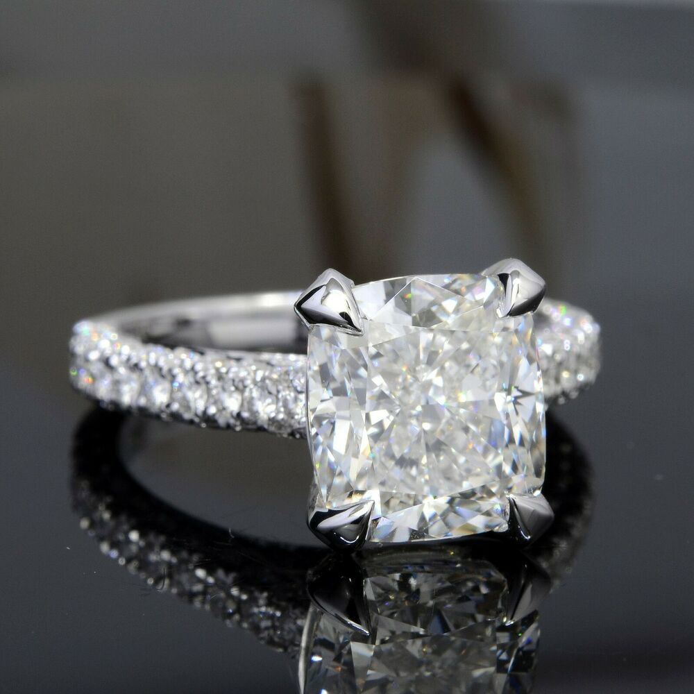 4.00 Ct Micro Pave Cushion Cut Diamond Engagement ...