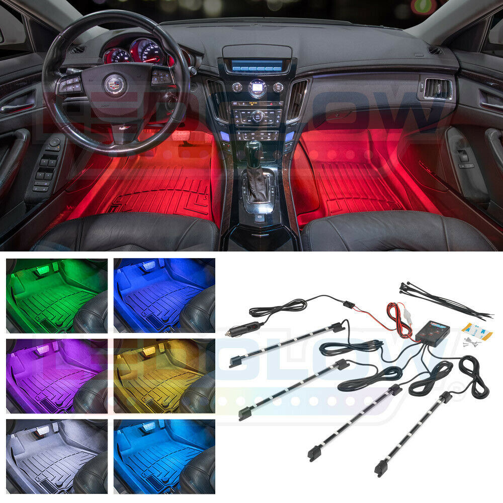4pc multi color 7 color led car underseat dash interior lights kit w music modes ebay. Black Bedroom Furniture Sets. Home Design Ideas