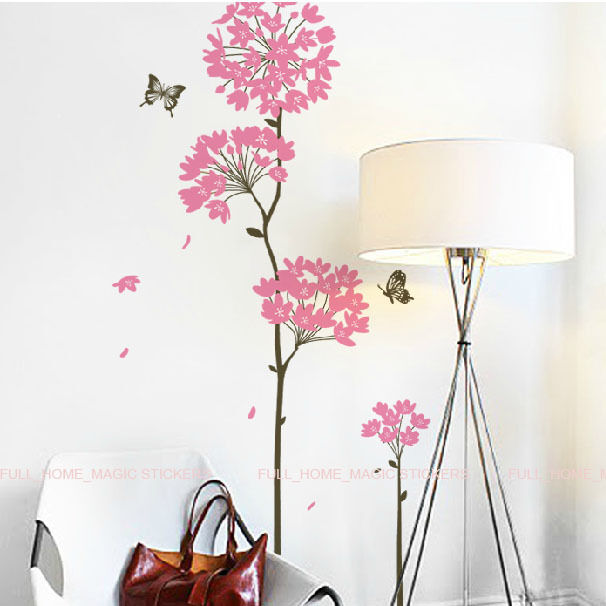 8ink dandelion flower butterfly wall stickers wall decals for Butterfly wall mural stickers