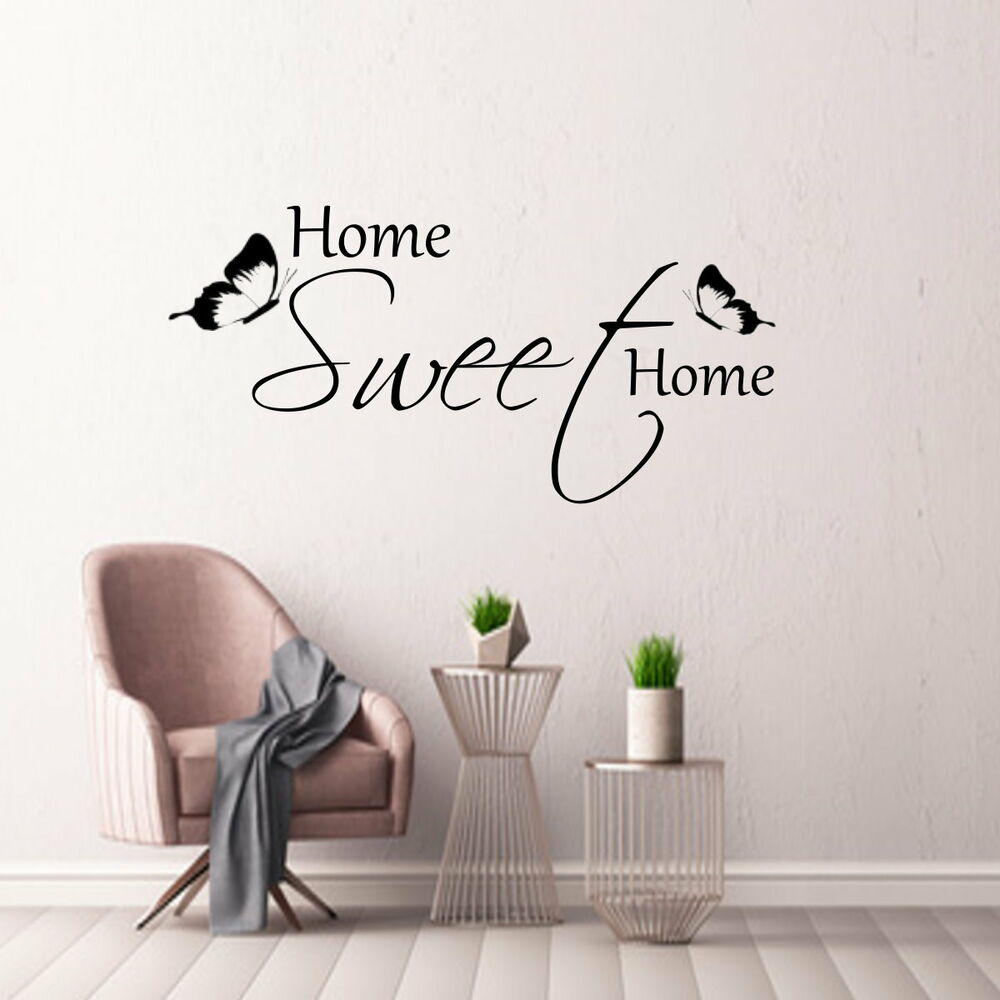 wandtattoo aa307 home sweet home wohnzimmer flur spruch wandaufkleber ebay. Black Bedroom Furniture Sets. Home Design Ideas