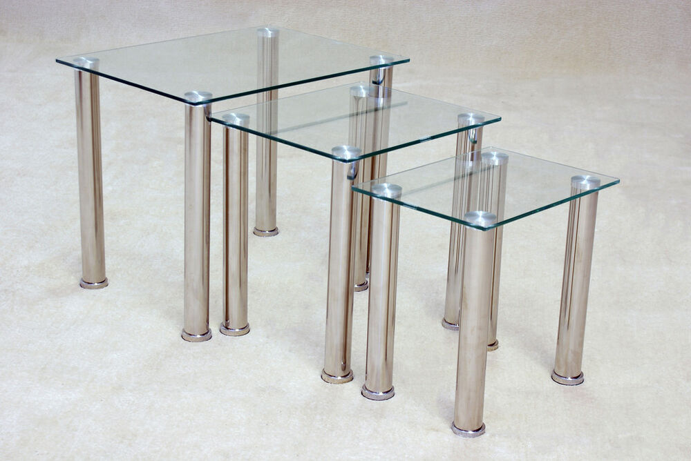 Togo clear glass nest of tables lamp side end coffee table ebay Glass coffee and end tables