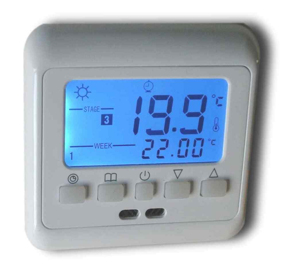 raumthermostat f r fussbodenheizung programmierbar max 16a b798 ebay. Black Bedroom Furniture Sets. Home Design Ideas