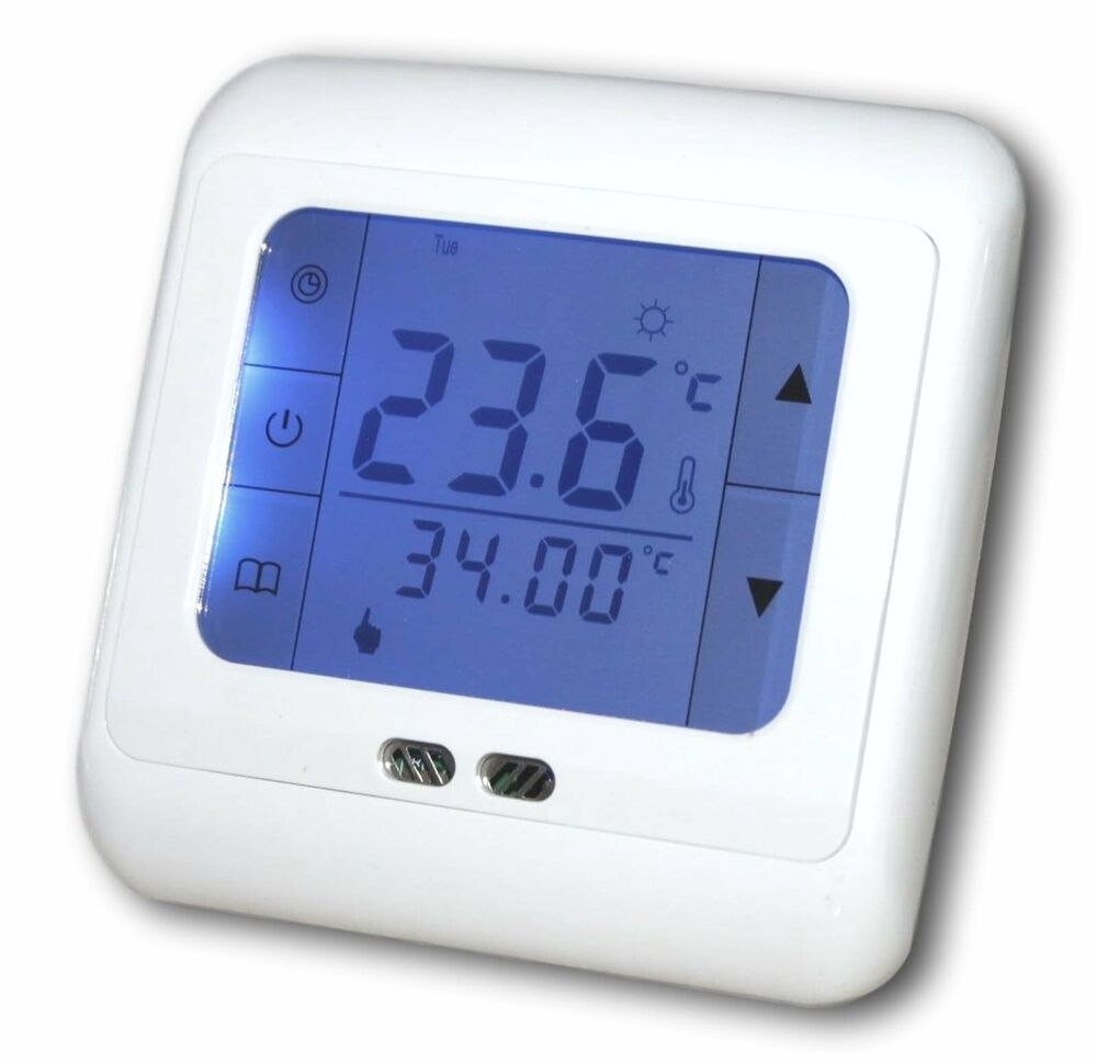 thermostat fussbodenheizung touchscreen 16a 799 ebay. Black Bedroom Furniture Sets. Home Design Ideas