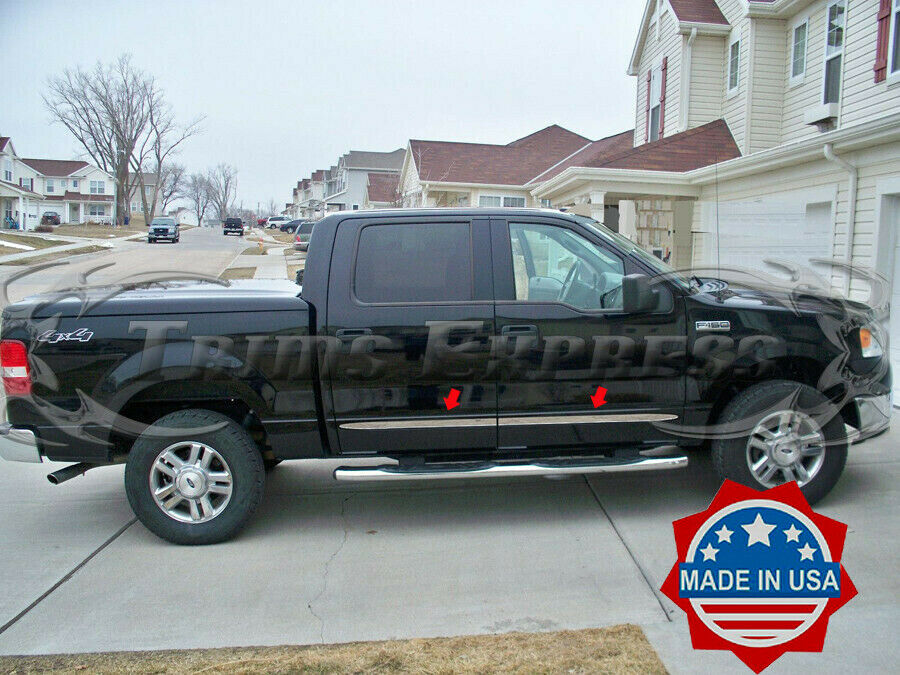 2004 2008 ford f 150 crew cab 4pc flat chrome body side molding ebay. Black Bedroom Furniture Sets. Home Design Ideas