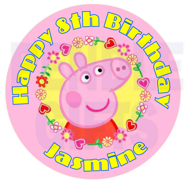 "Peppa Pig Edible Icing Cake Topper 7.5"" Circle x 1 
