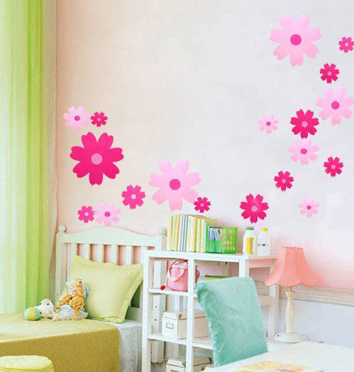 Pink Flowers Wall Stickers Girl Kids Room Nursery Decor Home Diy Peel Stick Ebay