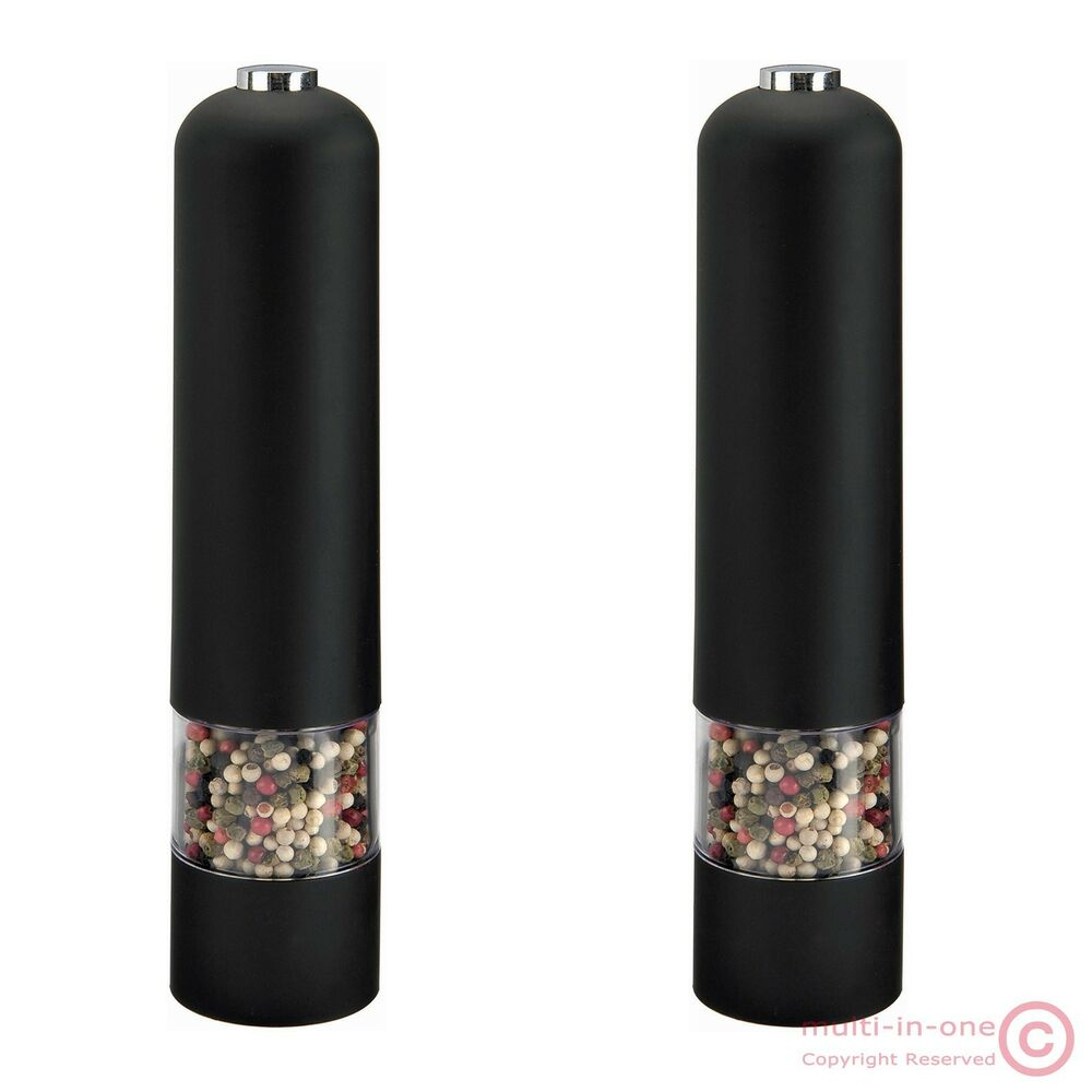 lot 2pcs fashion new black electric pepper mill salt. Black Bedroom Furniture Sets. Home Design Ideas