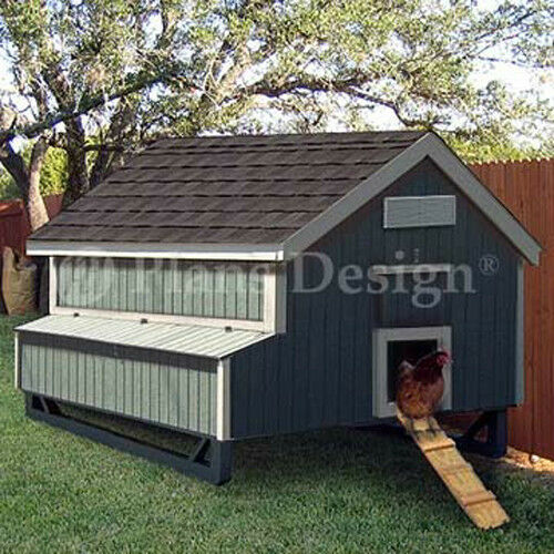 5 39 x6 39 gable chicken hen house coop plans 90506mg ebay for Chicken and duck coop