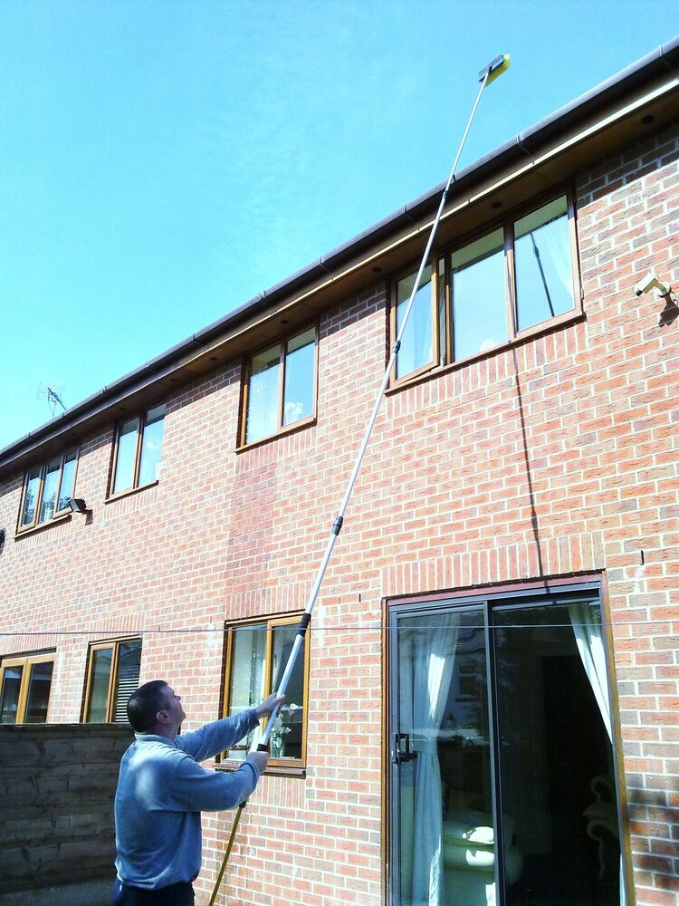 17ft water fed window cleaning pole brush telescopic