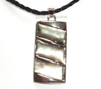 Black Mother Pearl Shell Rectangle Pendant w/ FREE Cord