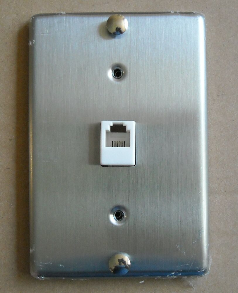 Tel Phone Jack Stainless Steel Wall Mount Cover Plate Ebay