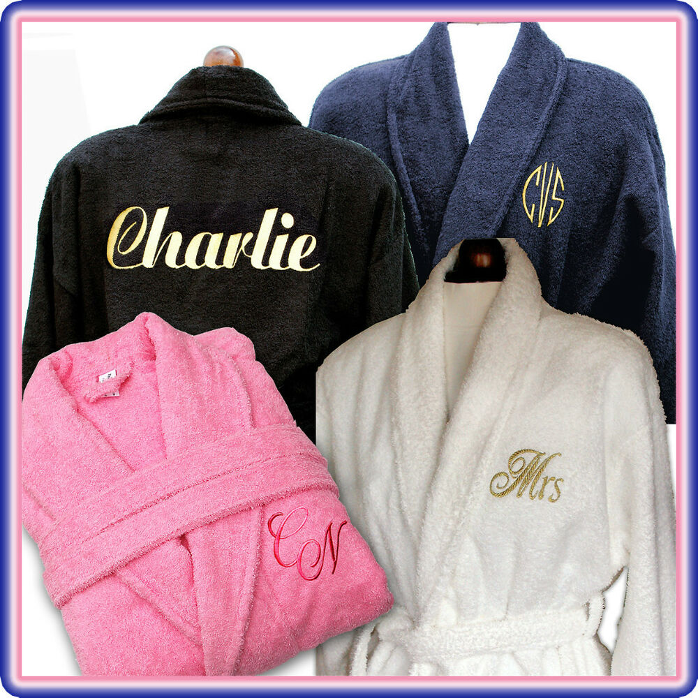 Personalised Name Monogram 100 Cotton Bath Robe Dressing
