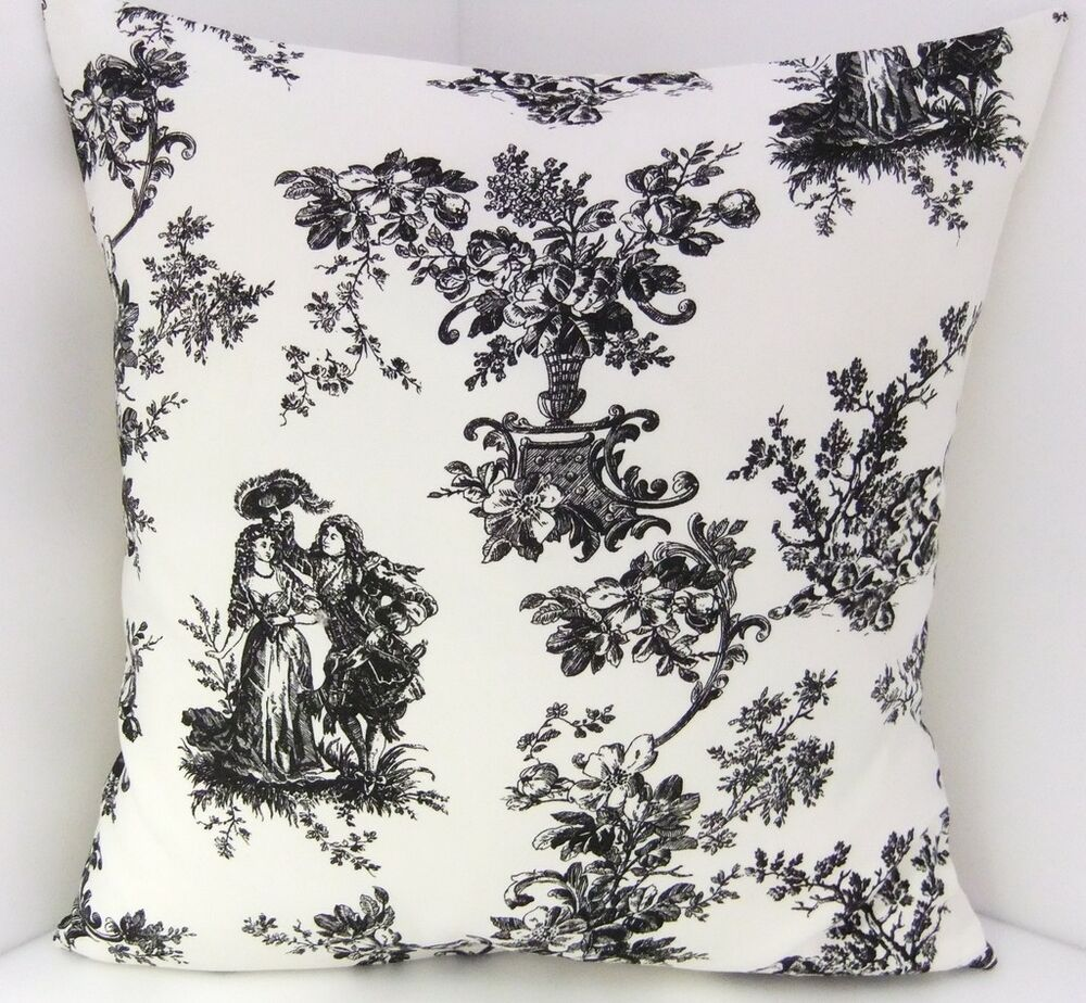 New cotton toile de jouy black ivory cushion covers ebay - Papel pintado toile de jouy ...
