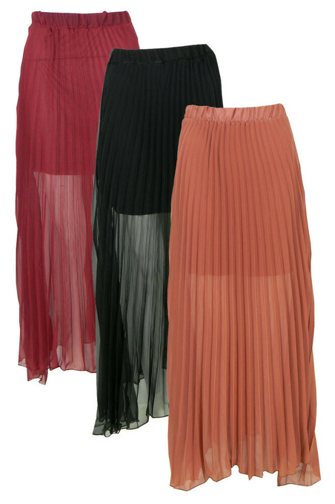 chifon sheer pleated elastic waist maxi