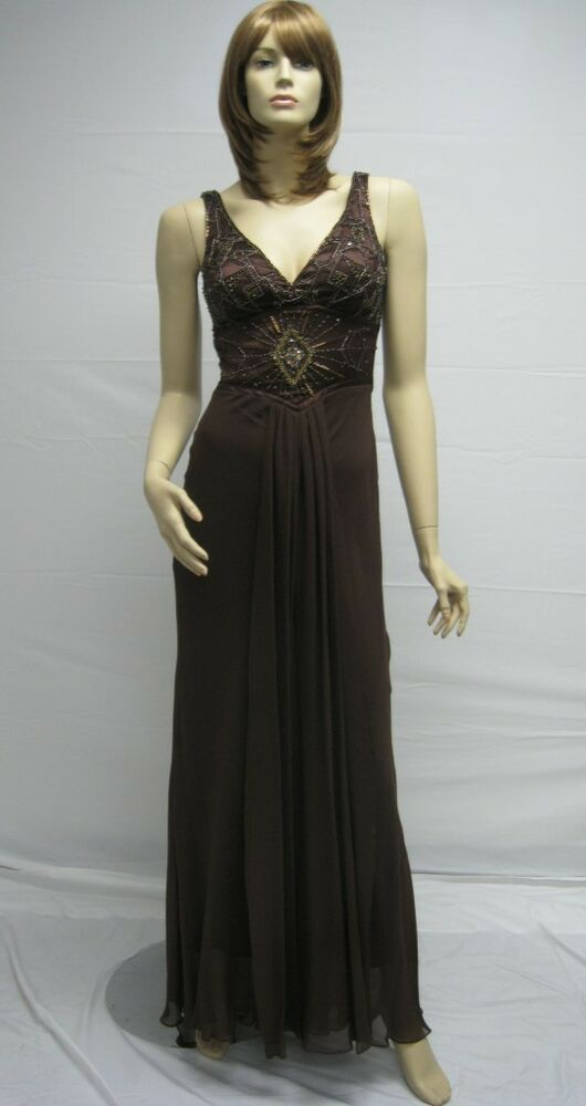 Sue Wong Brown Coffee Beaded Long Dress Gown Evening