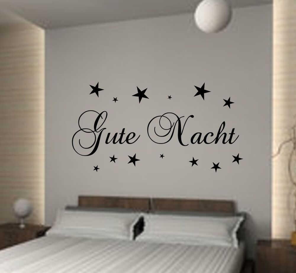 wandtattoo schlafzimmer gute nacht kinderzimmer wallart aufkleber wandsticker ebay. Black Bedroom Furniture Sets. Home Design Ideas