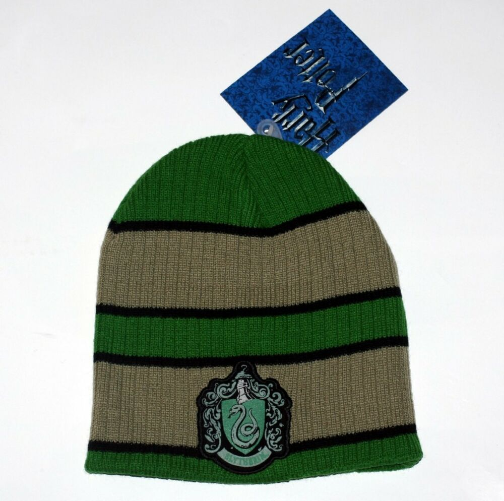 40d6d56e60a Details about HARRY POTTER DEATHLY HALLOWS Fantasy Movie SLYTHERIN Crest BEANIE  CAP HAT New