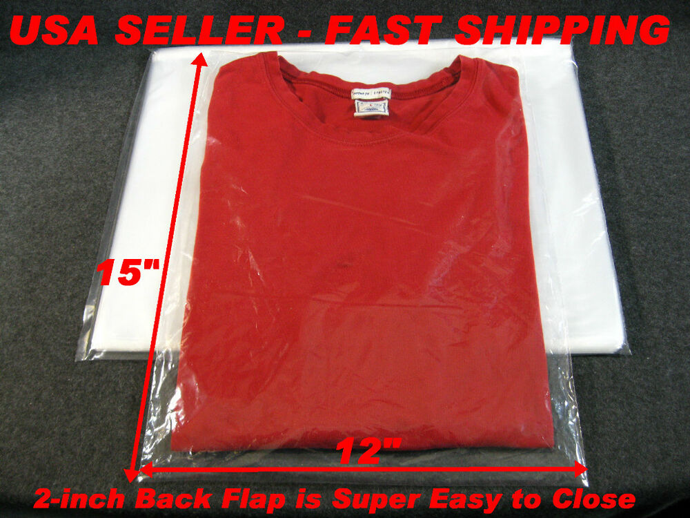 100 lot 12x15 clear poly plastic bags with 2 back flap for Clear shirt packaging bags
