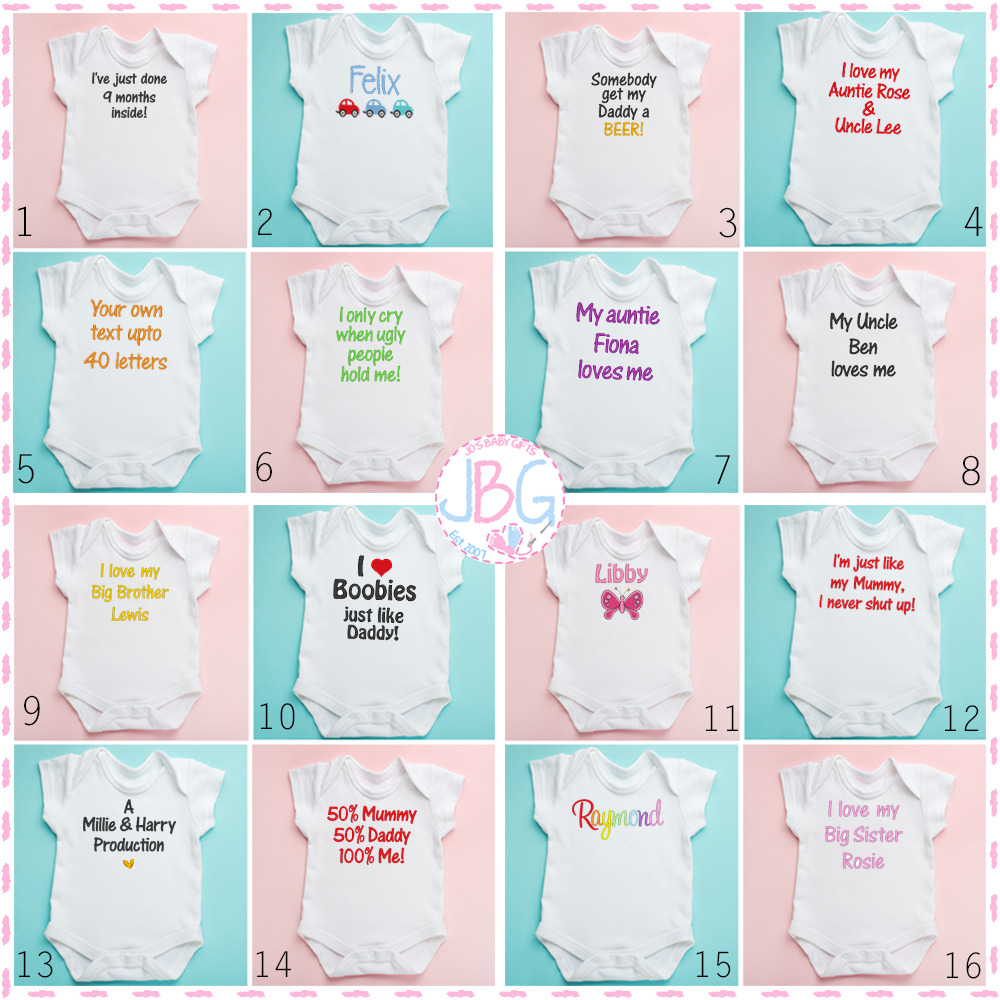 Personalised baby vest any slogan clothes great newborn gift personalised baby vest any slogan clothes great newborn gift bodysuitgrow ebay negle Image collections