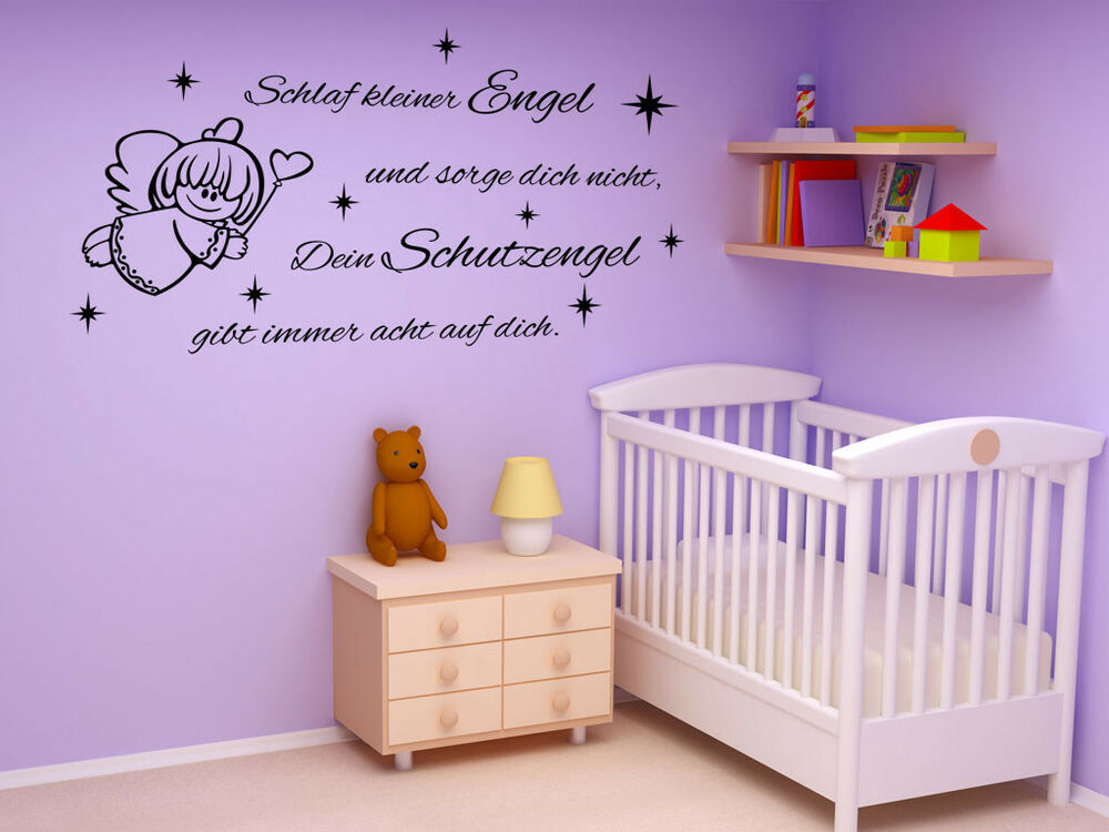 s122 xxl wandtattoo schlaf kleiner engel zitat spruch kinder kinderzimmer ebay. Black Bedroom Furniture Sets. Home Design Ideas