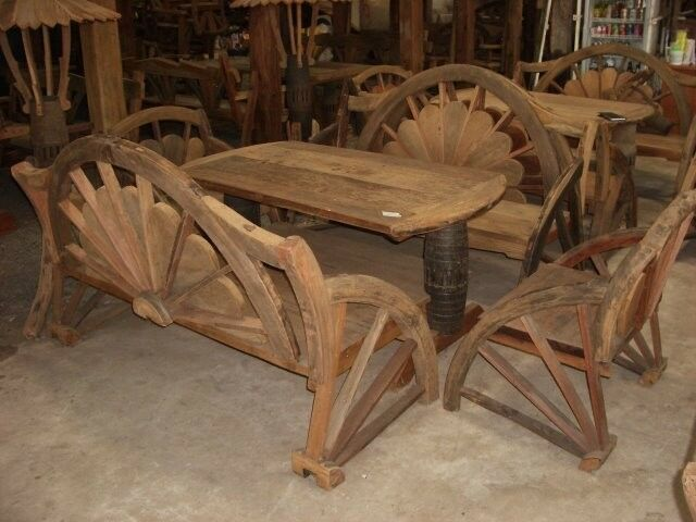 Rustic Benches With Steel Wheels : Nice outdoor rustic wagon wheel table and bench set ebay
