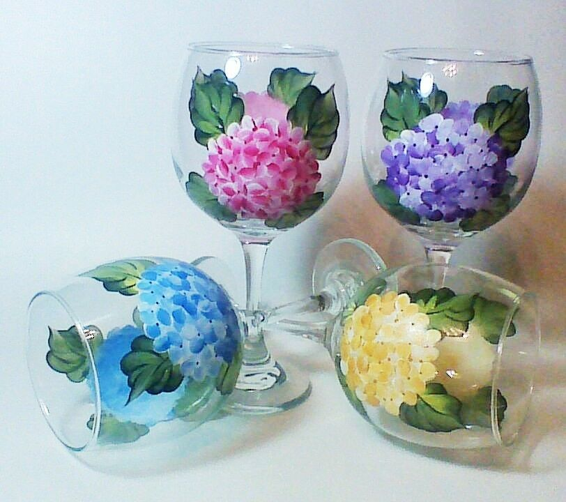 Set Of 4 Hand Painted Multi Colored Hydrangea Flower Wine