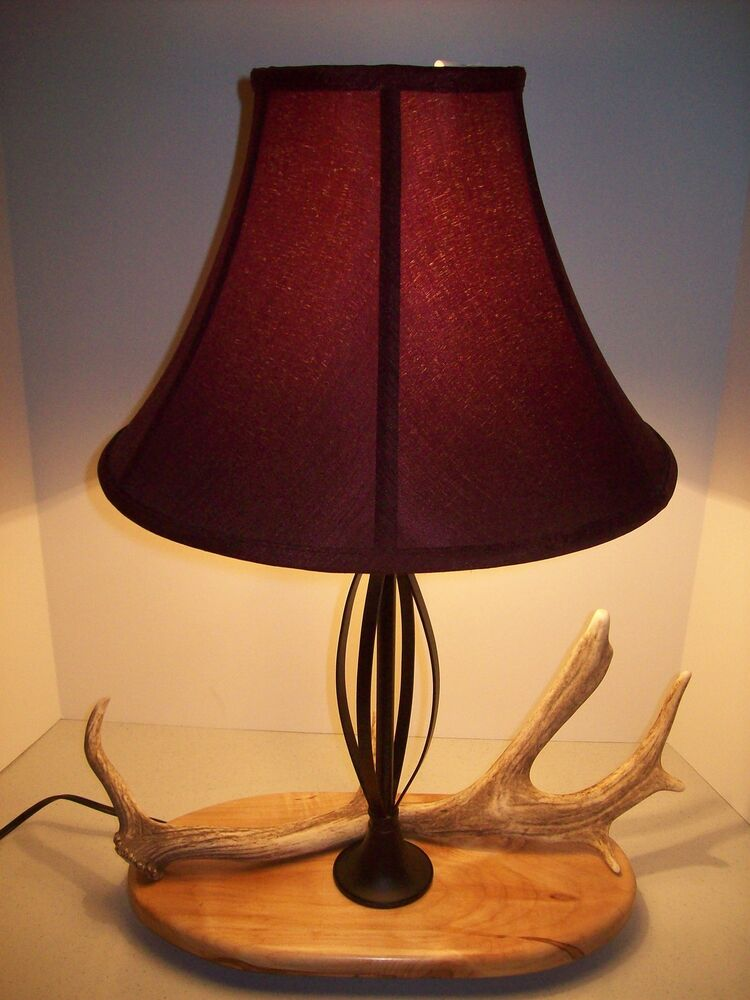 fallow deer elk moose antler shed horn rustic table lamp light dark