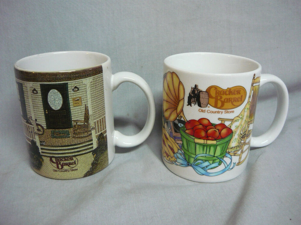 2 Cracker Barrel Old Country Store Coffee Mugs Vintage