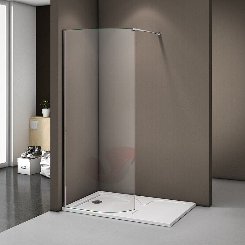 1400 x 800mm walk in shower enclosure curved glass shower screen stone tray w6 ebay - Walk in glass shower enclosures ...