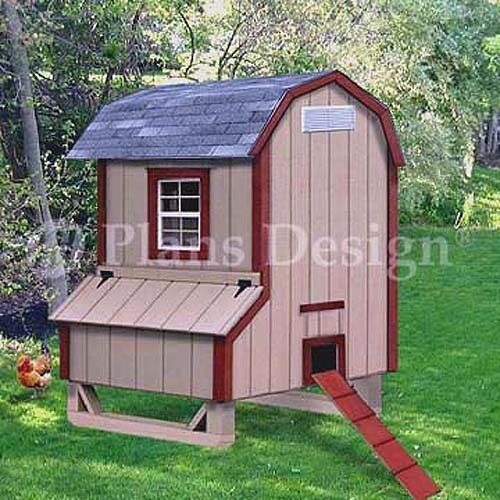 5 X4 Gambrel Barn Style Chicken Poultry Coop Plans