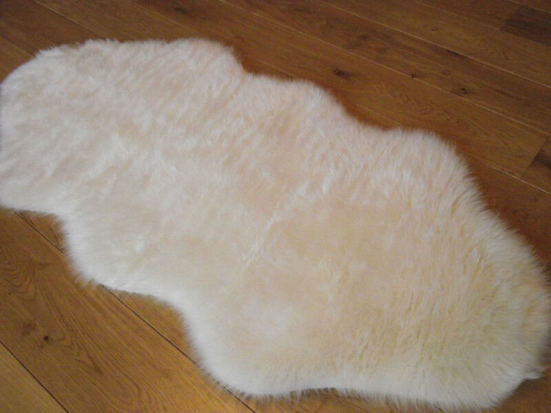 New Ivory Cream Rugs Fluffy Bedroom Rug Faux Fake Hairy