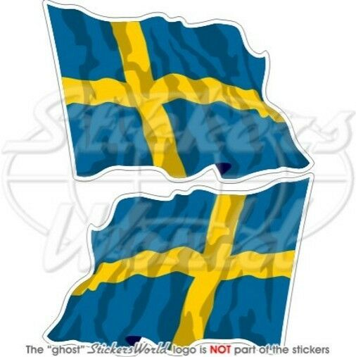 schweden wehende flagge schwedisch fahne 120mm auto aufkleber x2 vinyl stickers ebay. Black Bedroom Furniture Sets. Home Design Ideas