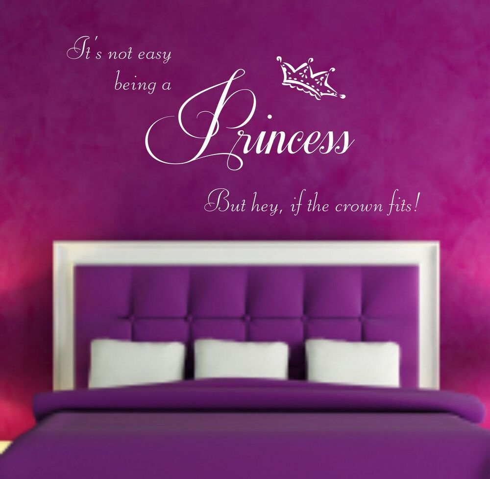 Princess quote vinyl wall art sticker decal bedroom - Childrens bedroom stickers for walls ...