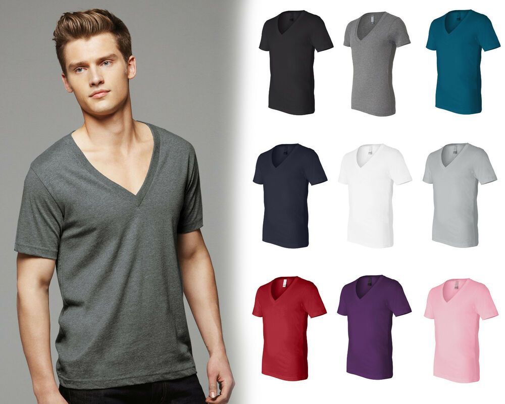 Canvas Mens Unisex Deep V Neck T Shirt T Shirt 9