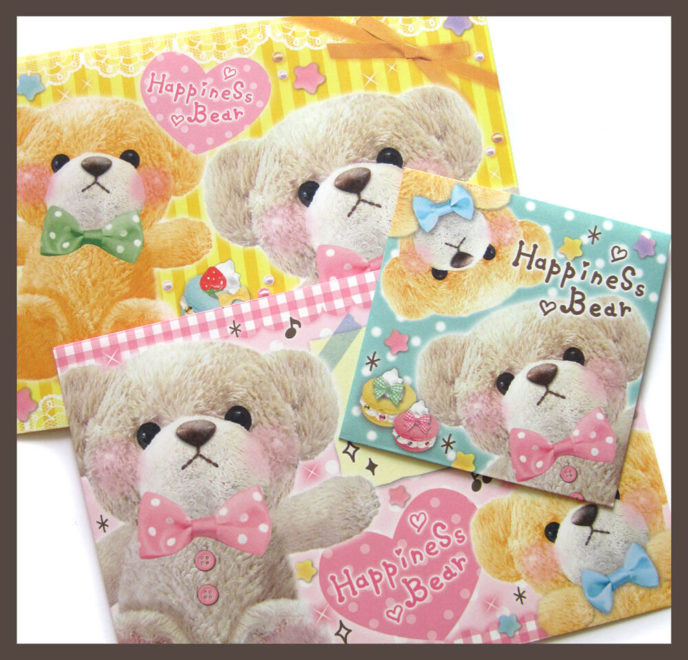 Very Cute Teddy Bear Pink Yellow Turquoise Paper Envelope ...