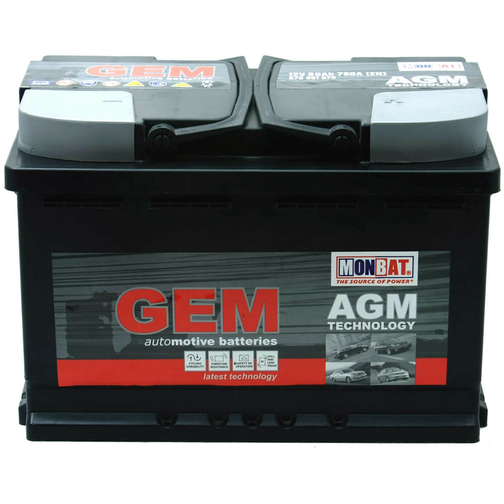 gem 12v 80ah 790a en start stop agm batterie. Black Bedroom Furniture Sets. Home Design Ideas